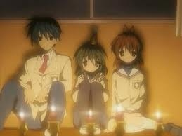 From left to right: Tomoya Fuko and Nagisa from Clannad (excuse my spelling as always)