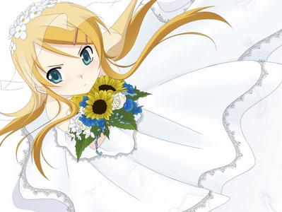 Ooh Here is Kiririn from Oreimo wearing a wedding dress!