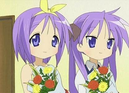Hiiragi Kagami-chan and Kasa-chan from Lucky Star!