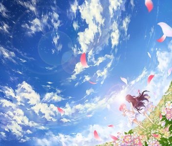 This really pretty picture I found of Madoka and Homura. It's so colorful, and it's just a happy-looking picture to me! :)