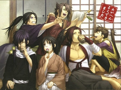 The Shinsengumi all together having a snack~! But Souji just takes Toshi's private poem book for his own read ❤❤