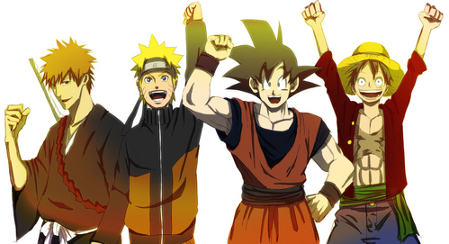 what can u say? they have unique bright colours ... Goku, and Naruto where orange, Ichigo's hair is machungwa, chungwa and Luffy's shati is red ... and they all have spiky hair and they are all hyper and a bit dumb but crazy and amazingly strong when protecting people especially their Marafiki and village in ichigo's and Naruto's case, earth and glaxy in Goku's case and his Nakama in Luffy's case ... luv them all they are all so sexy and cute