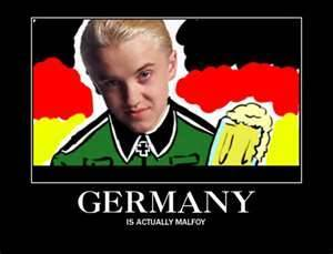 ok.....erm.... Hate about Malfoy: looks like Germany n he's evil....ish....(y do i always like de bad 1s?!) i don't really have a least fav. character....