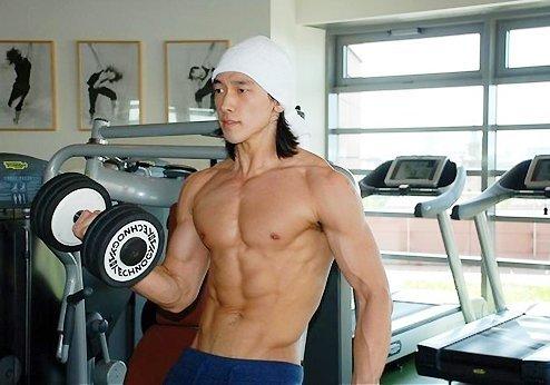 Bi Rain working out for his movie Ninja Assasin.