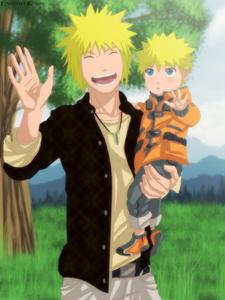 Minato Namikaze and Naruto Uzumaki. Father and son, same hair and eye colour