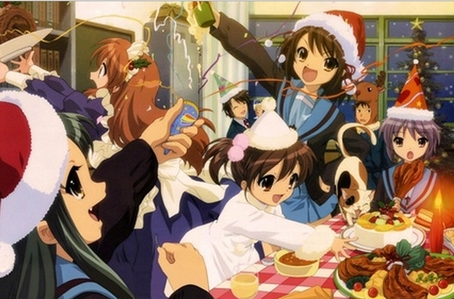 Natale related picture of my preferito anime..there are so many but here's one of The Melancholy of Haruhi Suzumiya! it looks fun if te ask me!
