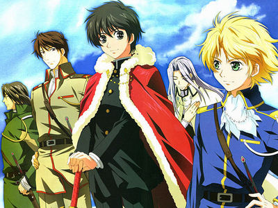 My all time favorite is Kyo Kara Maoh! Best yaoi anime out there, but sadly the yaoi is very slight.   It's about an ordinary schoolboy name Yuri who gets flush down the toilet to a parallel world and crown King. He gets himself engage to the ex- prince by slapping his on the check at the dinner table for bad mouthing his mother.