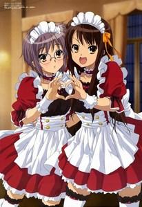 I will like Haruhi 或者 Yuki to serve me. I'll like to order a simple cake and tea! ^^