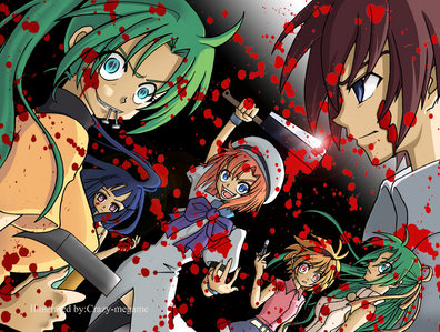 Higurashi no naku koro ni یا Elfen Lied! (Higurashi picture) It has a great storyline,characters,and lots of blood!