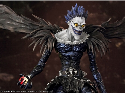 anime character with wings..He's not exactly the most graceful but here's Ryuk from Death Note :p