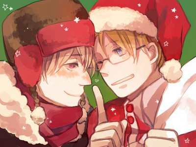 Russia isn't really dress up as Santa, but America is~ :D