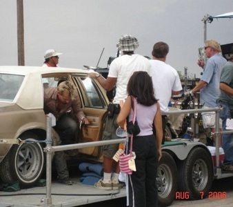 on set of Prison Break; Rob getting out of a car