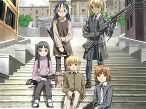 """""""The lights before we land"""" from Gunslinger Girl. The whole song is in english."""