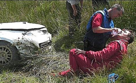 John Barrowman after crashing his car at 80mph :(