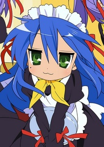 Konata has an spot below her right eye.