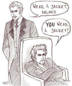 ahhhh! THAT'S TOO CUTEE! *-* Cartoon Holmes and Watson <3