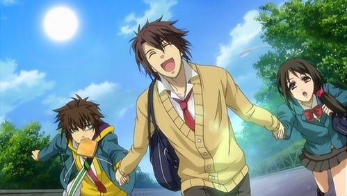 Souji joins Chizuru and Heisuke on their journey to NOT be late to school :3