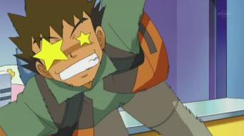 Running anda say? Well here's Takeshi-kun from Pokemon running trying to get away from his Gureggru (Think it's english name is Croagunk..)