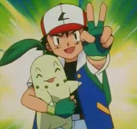 Satoshi-kun (or Ash in the english dub) from Pokemon making a piece sign because Chicorita wanted to come with him :p