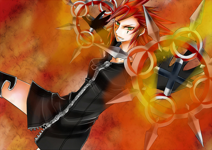 He's hot! Like mine? A female version of Axel from Kingdom Hearts II.