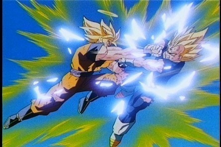 Well, Goku and Vegeta seem to do most of their battle on air. But not in the whole lapse of their fight...