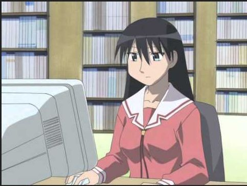 Sakaki-san from Azumanga Daioh. Here she is researching Katzen and where they hang out I think. I tend to spend a lot of time researching whatever it is that has got my interest at the moment, be it astronomy, genealogy, history, Castlevania, anime, whatever.