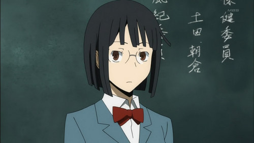 Anri Sunohara from Durarara!! My hair isn't as short as hers and I have a darker skin color but I do share the same hair and eye color (I also wear glasses) and our personalities are quite similar.