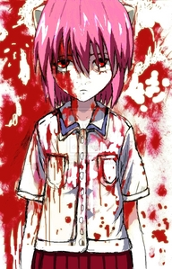 I have no clue if this is too creepy. Lucy, from Elfen Lied! FOUND THIS ON DEVIANTART, NOT MINE.
