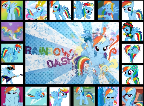 I should be getting ready for school but right now i'm answering this question. My sister is playing the recorder. I should probly go but before I do here is a picture of all my pictures of regenbogen Dash combined. regenbogen Dash FOREVER! xD