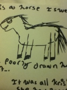 I am no good with horse drawings, my friend asked me to draw her a horse and this is what she got;