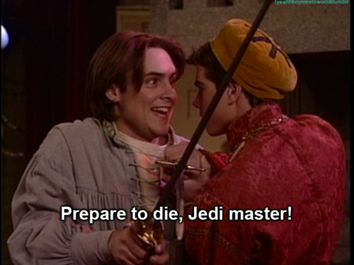 I don't have a video of Matthew on stage but I have a pic of him as Jack doing a sword fight on stage with Will Friedle in Boy Meets World. <33