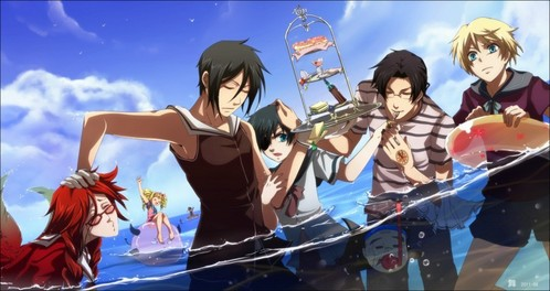 Black Butler Characters At The Beach