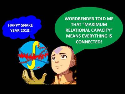 "I've learnt at least 2 things: (1) total acceptance is not just a figment of my imagination - it is a longing expressed par the creators of the saga as well (Katara embracing Aang even at his scariest); (2) I'm not the only one who believes ""everything is connected"" (I call it ""Maximum Relational Capacity - check out the forum)."