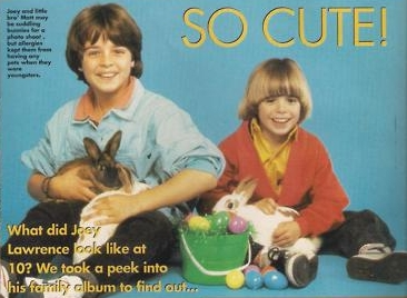 Little Matthew and his brother, Joey holding bunnies. <333
