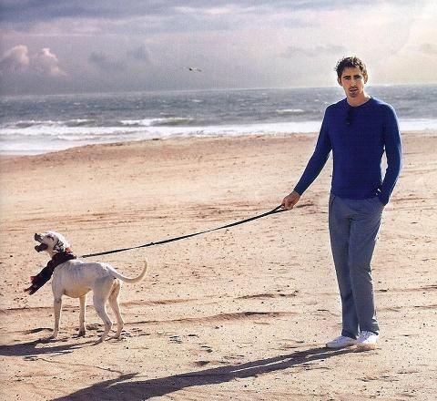 Lee Pace walking his dog Carl.