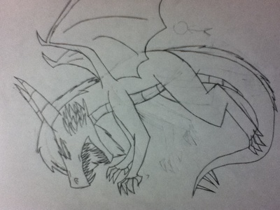 Sorry for the bad quality, I took a pic with my iPod. I drew it cause I wanted to draw me as a evil dragon xD
