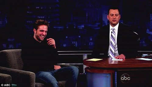 my lovable and sexy Robert on Jimmy Kimmel laughing with his eyes closed<3