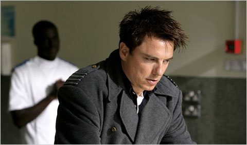 Jb as Capt.Jack Harkness confused after looking at a dead body.