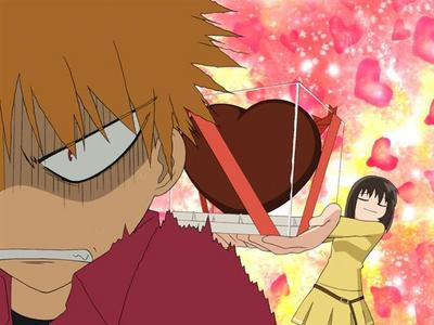 Kagura giving chocolates to Kyo on Valentines Day...