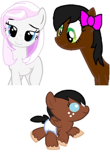 Can you have Trixibelle and her daughter Mocha Mist flying in Cloudsdale then my other OC Cotton kendi sa pamamagitan ng Trixibelle please? If you can I really appriciate it.