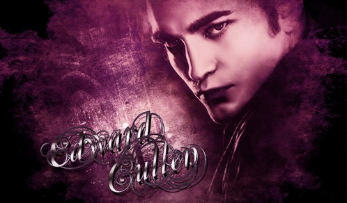 my Robert,as his Twilight character Edward Cullen,with purple background<3