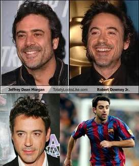 I think robert downey jr an jeffrey dean morgan look a bit alike - as well as RDJ and the spanish footballplayer Xavi!! *-*