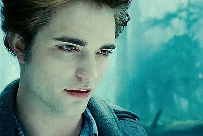 my Robert wearing white makeup to make him look pale as Edward Cullen<3