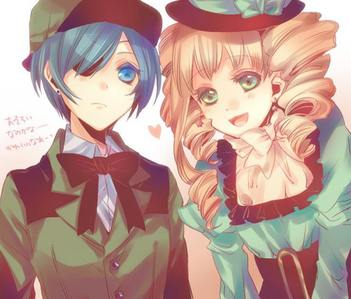 I believe Ciel and Lizzy from Black Butler have an arranged marriage and there also cousins