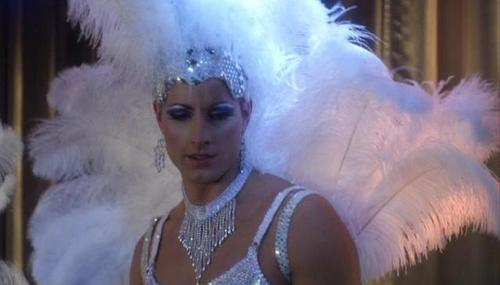 """Justin in a showgirl's dress, as seen as in Smallville, episode """"Fortune"""" (IMO the funniest episode ever!!)"""