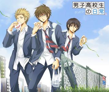 How about Danshi Koukousei no Nichijou/Daily Life of High School Boys. It's a pretty interesting anime. And in the main cast, 2 of the seiyuus are [url=http://www.zerochan.net/1342002]Tomokazu Sugita[/url] as Hidenori Tabata and [url=http://www.zerochan.net/846941]Kenichi Suzumura[/url] as Yoshitake Tanaka
