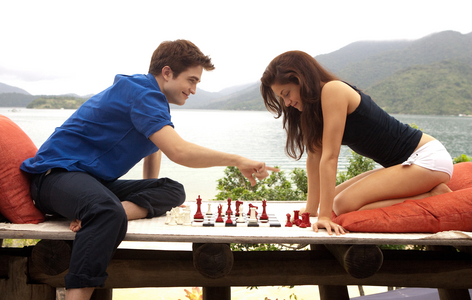 my Robert in a deep blue shirt,from a still in Breaking Dawn.Check mate,baby!!!!!!<3