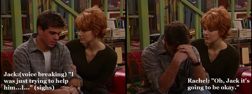 Jack (Matthew) was upset that his half-brother doesn't want any of his help to हटाइए on after their father's death. Rachel (Maitland Ward) sits down and comforts him.