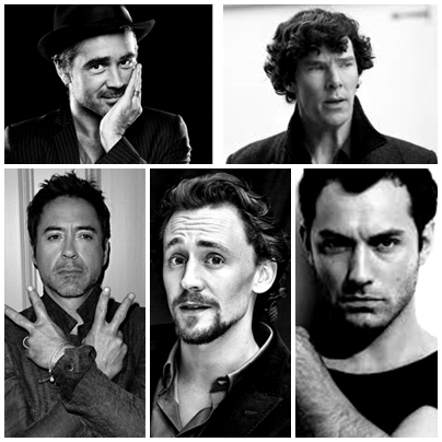 Robert Downey Jr Tom Hiddleston Jude Law Benedict Cumberbatch (as Sherlock ^^) Colin Farrell (Robert Knepper) (...) (...) (...) ahhhhhh there way too much for just শীর্ষ 5! O__o