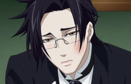 Hmm,Claude from Kuroshitsuji usually wears glasses..if that counts..